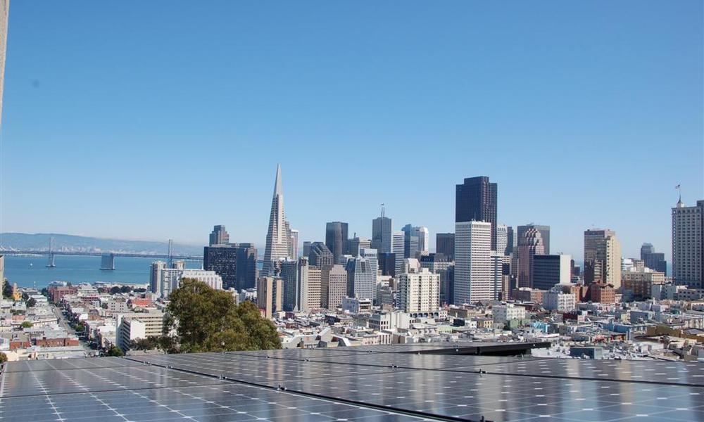 Solar panels and SF skyline