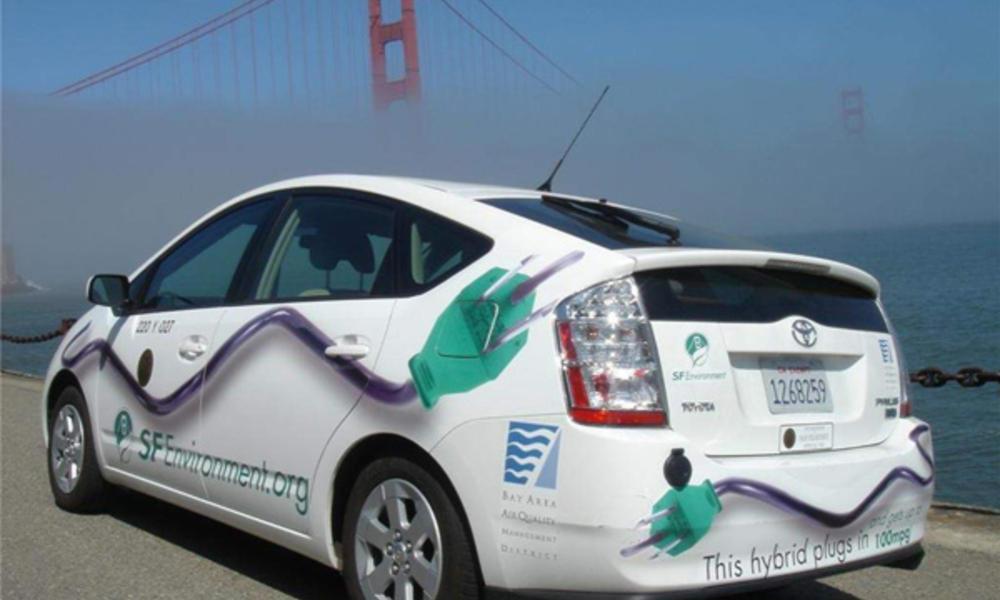 Hybrid Car and Golden Gate Bridge