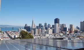 Solar panel with San Francisco skyline