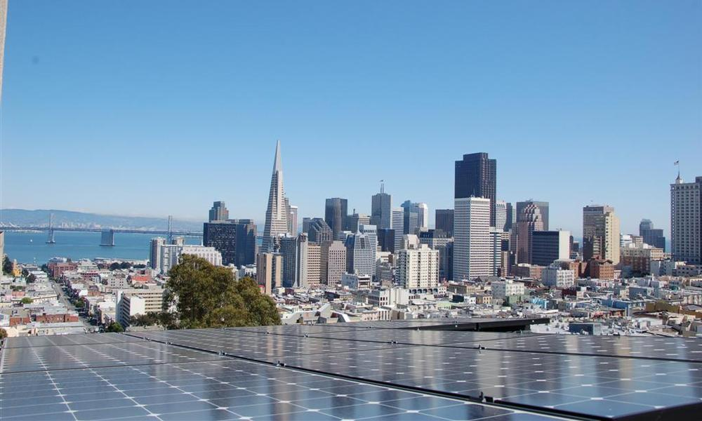 Solar panel with San Francisco skyline