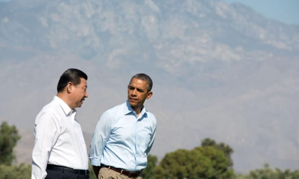 President Barack Obama walks with President Xi Jinping of the People's Republic of China at Annenberg Retreat in California.
