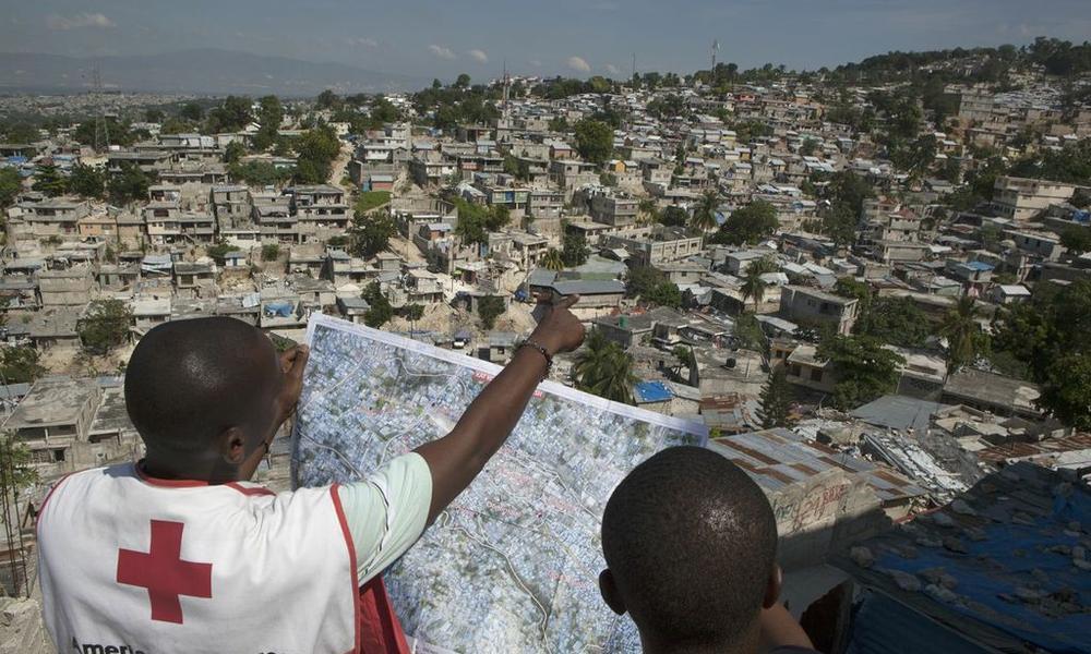 examining a map