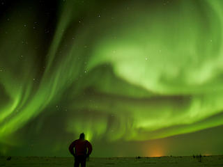 Northern Lights with Person