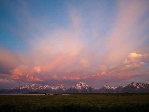 Sunrise over the Grand Teton Mountains