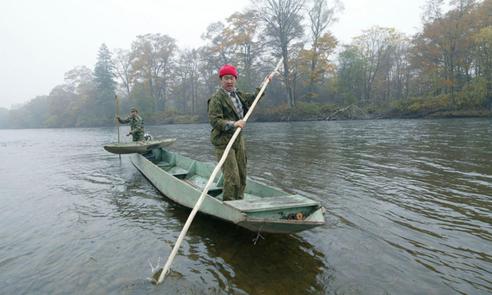 Employees of the forest unit in Krasniy Yar village, on a raid on Bikin river, searching the sites of illegal logging
