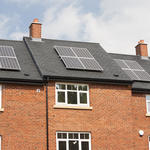 Solar panels on new build housing in Macclesfield, Cheshire, UK.