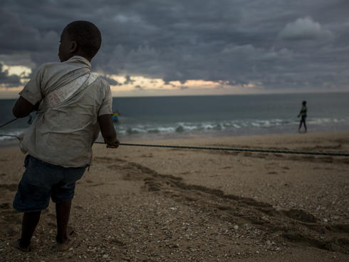 Boy fishermen in Primeiras e Segundas, Mozambique