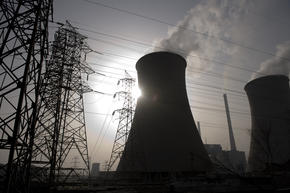 Burning coal releases 70% more carbon dioxide than natural gas. Coal plant, Taiyuan, China.