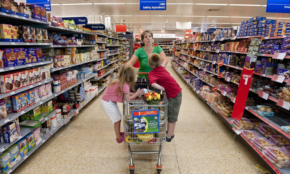 Family supermarket shopping