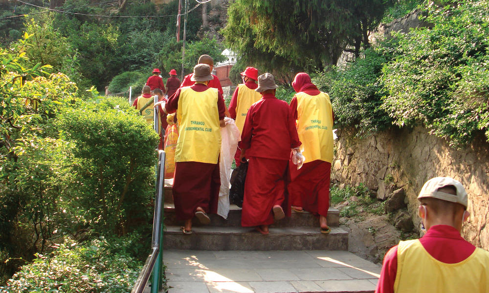 monks on stairs