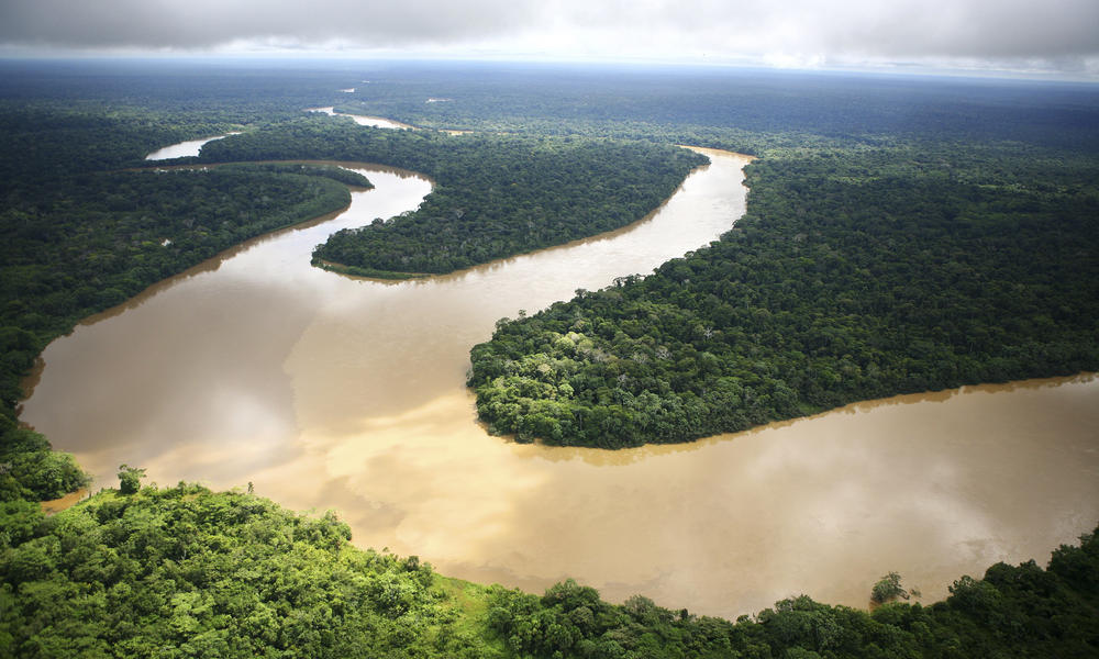 Winding river in Amazon rainforest