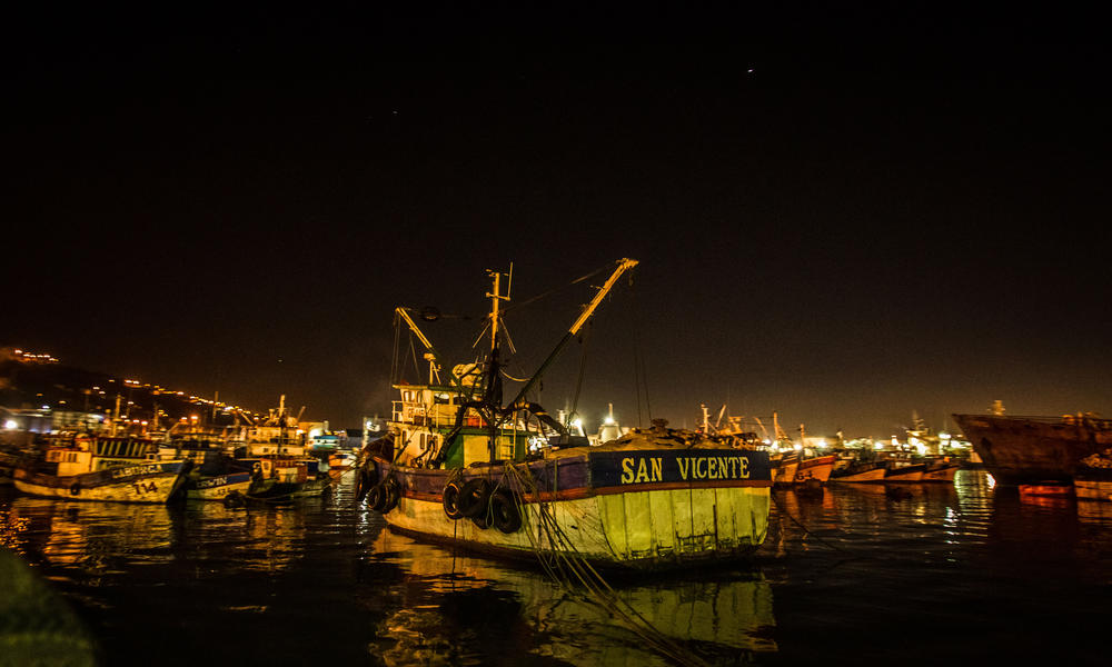 Chile fishing boats set sail at dawn