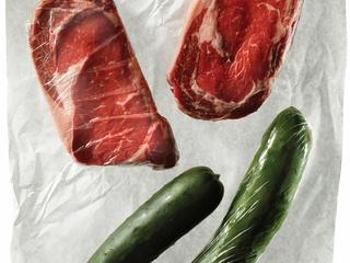 A wrapped and unwrapped steak and cucumber.