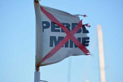 no pebble mine flag
