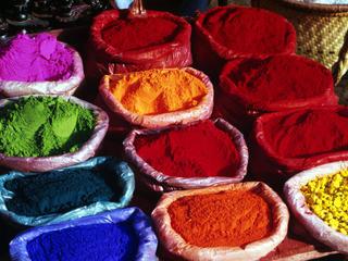 dyes on display in Katmandu, Nepal