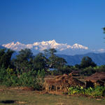 Chitwan National Park scenic view of Tharu village Nepal