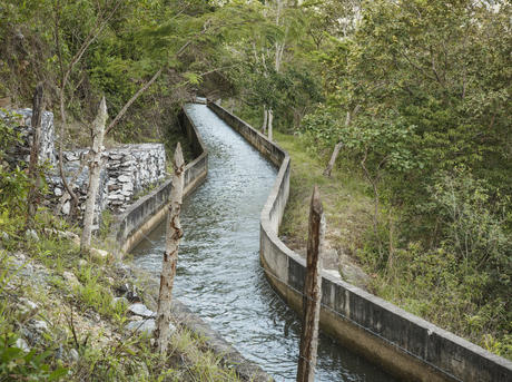 An acquaduct streaming water downhill from the Sierra de las Minas, a moutain range in eastern Guatemala.