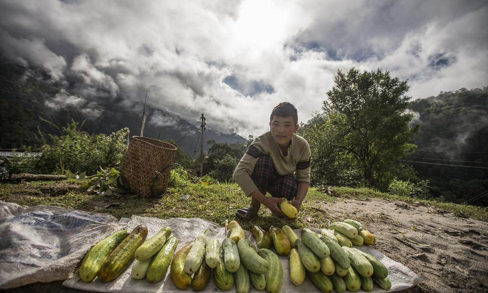 A farmer selling fresh produce