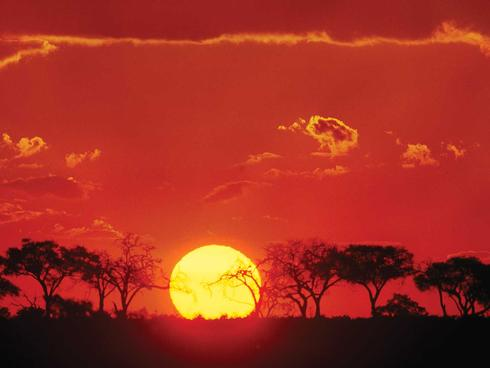 Sunset landscape in Botswana