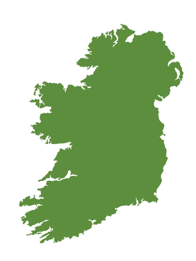 Green outline of Ireland