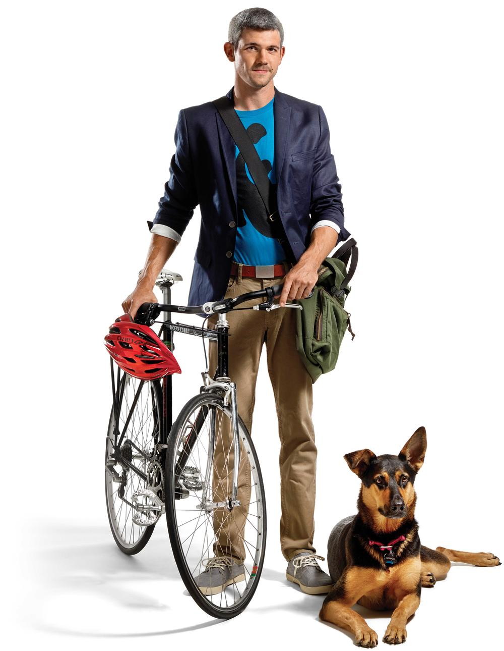 Man with bicycle and dog