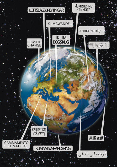 Earth and speech bubbles about climate change
