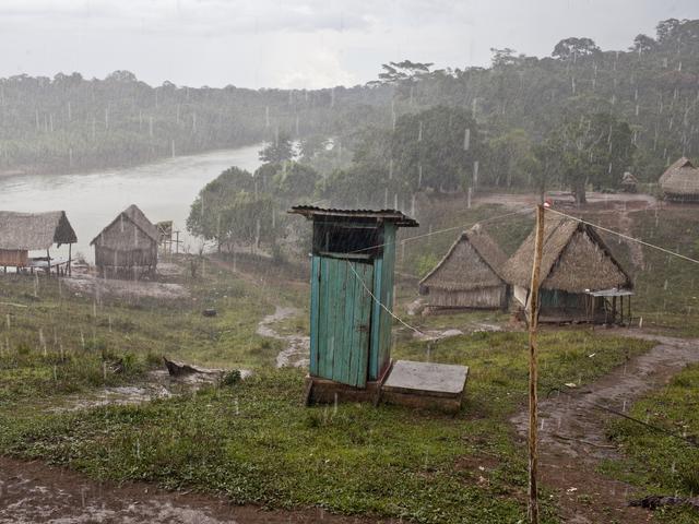 Rain drenched village in Peru