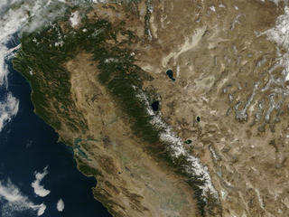 Satellite view of California and the West Coast of the United States in 2014.