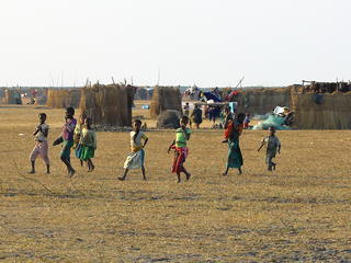 children walking in village
