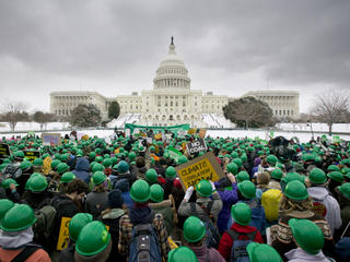 Campaigning youth gathering on Capitol Hill to demand climate legislation and action from the US government.