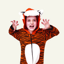 Boy in tiger onesie