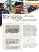 Reducing corruption's impact on natural resources – How does a gender lens help? Brochure