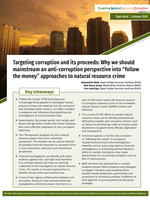 """Targeting corruption and its proceeds: Why we should mainstream an anti-corruption perspective into """"follow the money"""" approaches to natural resource crime Brochure"""