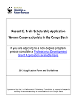 2013 Train Scholarship Application for Women in the Congo Basin Brochure