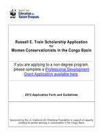 2013 Train Scholarship Application for Women in the Congo Basin Brochure