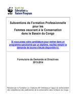 2013-14 Subventions de Formation Professionnelle pour les Femmes Oeuvrant a la Conservation dans le Bassin Du Congo Brochure
